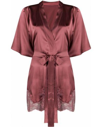 С рукавами шелковый розовый ажурный халат Fleur Of England