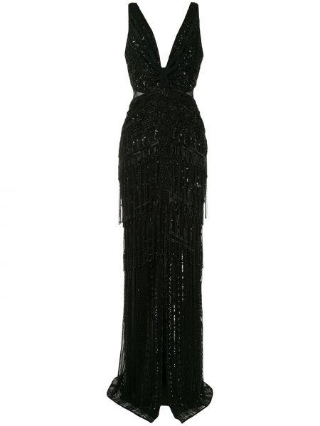 Шелковое черное платье макси с вышивкой Zuhair Murad