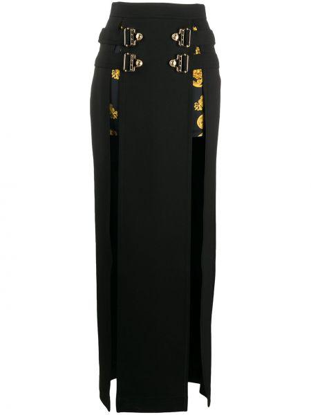 Черная прямая джинсовая юбка на молнии с разрезом Versace Jeans Couture