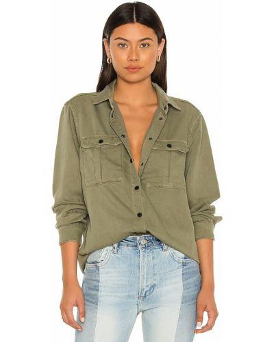 Зеленая кожаная рубашка с карманами Allsaints