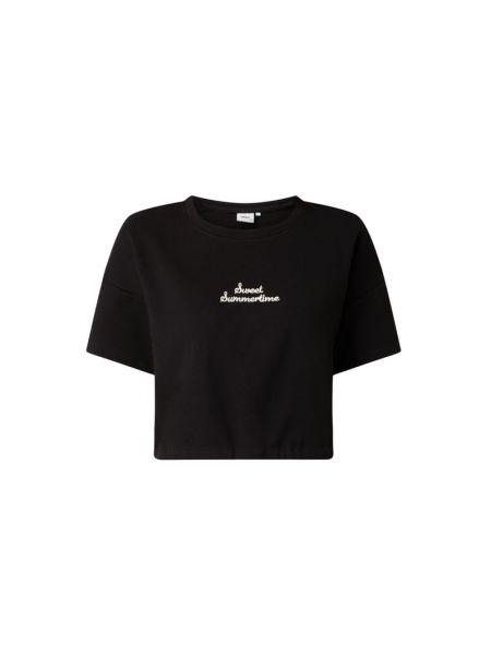 Czarna bluza krótki rękaw bawełniana Only