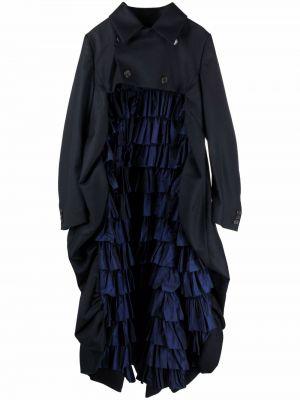 Шерстяное пальто - синее Comme Des Garçons Noir Kei Ninomiya