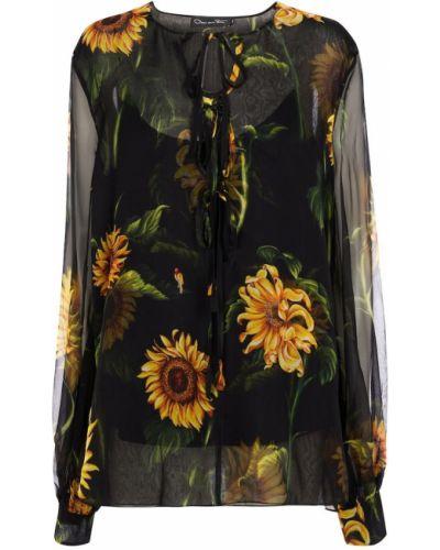 Черная шифоновая блузка Oscar De La Renta