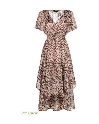 Коричневое повседневное шифоновое платье миди Love Republic