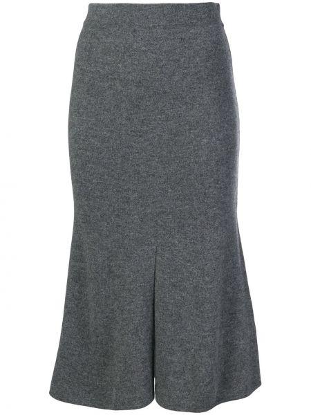 Кашемировая расклешенная с завышенной талией юбка с разрезом Cashmere In Love