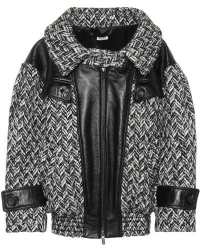 Кожаная куртка черная оверсайз Miu Miu