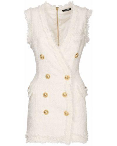 Платье мини без рукавов - белое Balmain