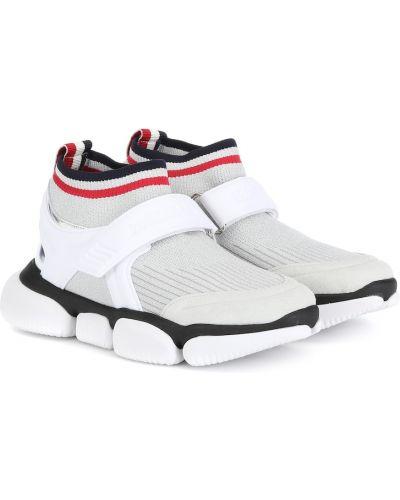 Кожаные кроссовки белый серебряный Moncler