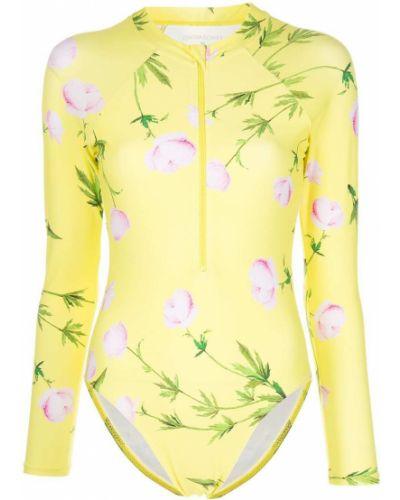 Слитный купальник с длинными рукавами - желтый Cynthia Rowley