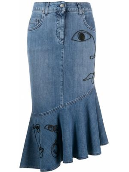 Классическая асимметричная джинсовая юбка на молнии с оборками Moschino