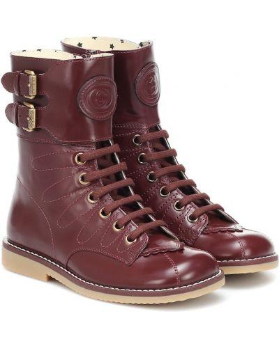 Czerwony skórzany buty Gucci Kids