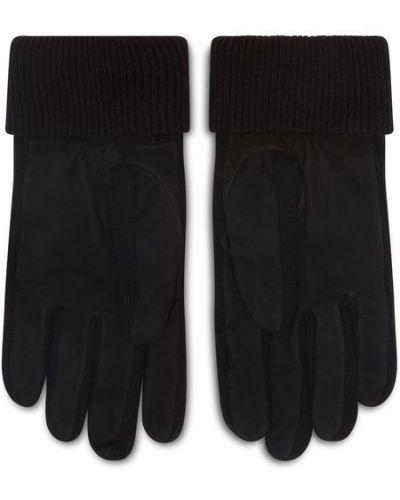 Czarne rękawiczki zamszowe Polo Ralph Lauren