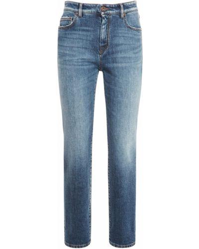 Синие хлопковые зауженные джинсы Weekend Max Mara