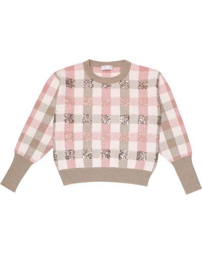 Kaszmir różowy sweter z cekinami Brunello Cucinelli Kids