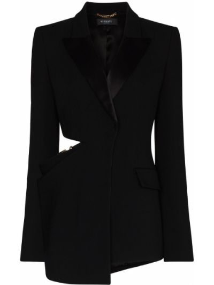 Шелковый черный удлиненный пиджак с карманами Versace