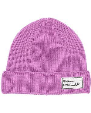 Prążkowany fioletowy czapka beanie wełniany Lc23