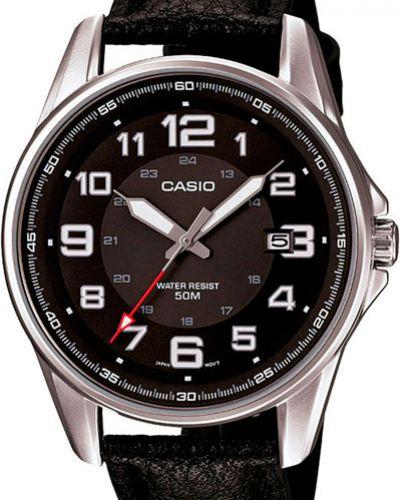 Кварцевые часы с кожаным ремешком Casio