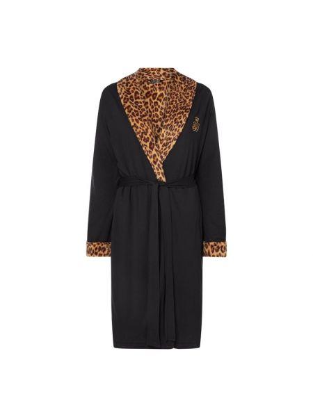 Czarny szlafrok bawełniany bez zapięcia Lauren Ralph Lauren