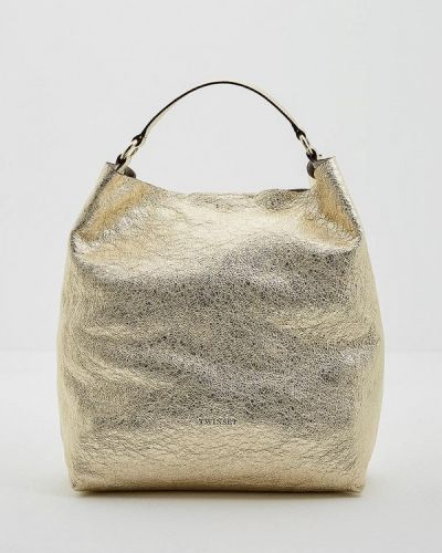 Сумка шоппер золотого цвета Twin-set Simona Barbieri