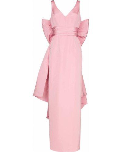 Шелковое розовое платье макси с V-образным вырезом Carolina Herrera