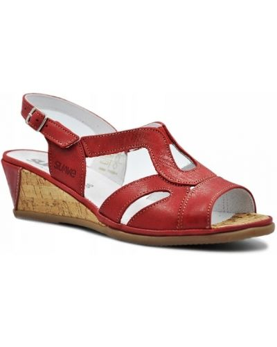 Czerwone sandały na platformie skorzane Comfortabel