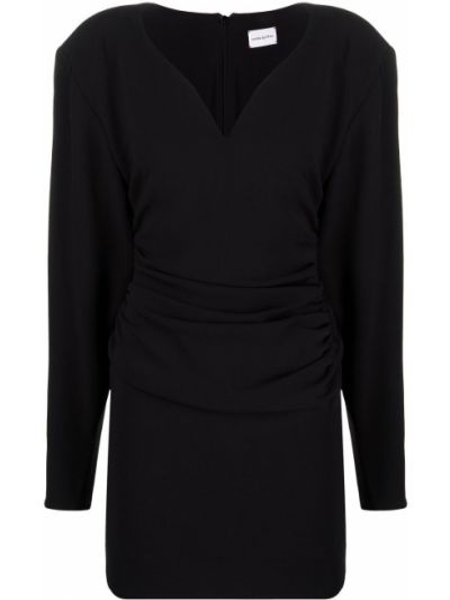 Шелковое с рукавами черное платье макси Magda Butrym