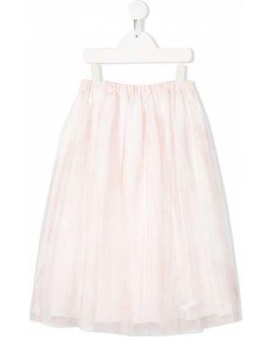 Spódnica rozkloszowana z haftem z jedwabiu Baby Dior