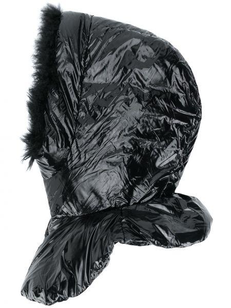 Klasyczny puchaty czarny kominiarka z kapturem Yves Salomon