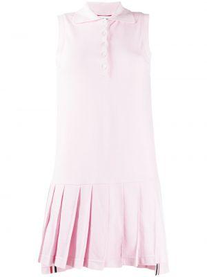Klasyczna różowa sukienka mini bez rękawów Thom Browne