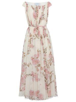 Шелковое белое платье макси Giambattista Valli
