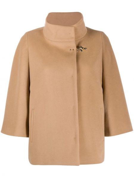 С рукавами коричневое шерстяное пальто с воротником Fay