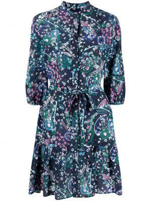 Прямое шелковое синее платье мини Saloni