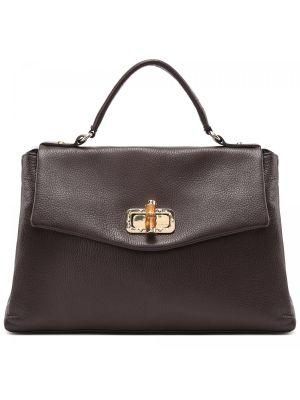 Кожаная коричневая сумка Fabi