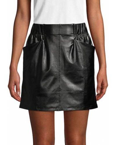 Черная кожаная юбка мини с карманами David Lerner