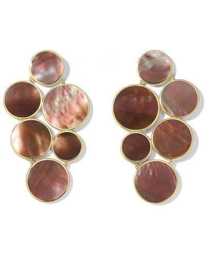 Золотистые золотые серьги золотые круглые Ippolita