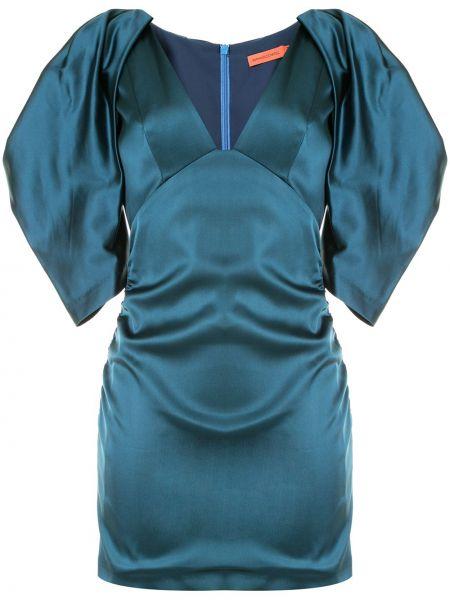 Синее нейлоновое платье мини с V-образным вырезом на молнии Manning Cartell
