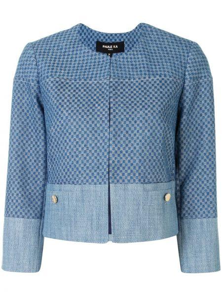 Хлопковая синяя джинсовая куртка с круглым вырезом Paule Ka