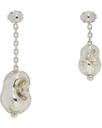 Kolczyki sztyfty perły srebrne asymetryczne Lemaire
