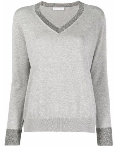 Sweter z okrągłym dekoltem z długimi rękawami z dekoltem w szpic z wiskozy Fabiana Filippi