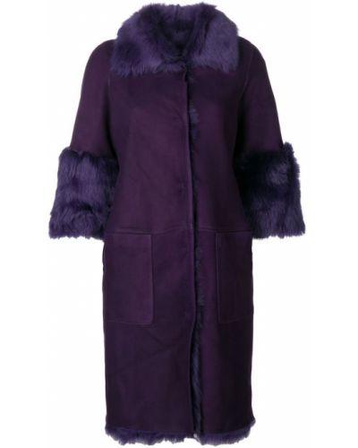 Фиолетовое пальто с капюшоном на пуговицах Desa Collection