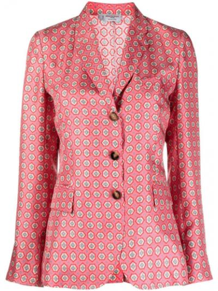 Шелковый однобортный розовый удлиненный пиджак Alberto Biani