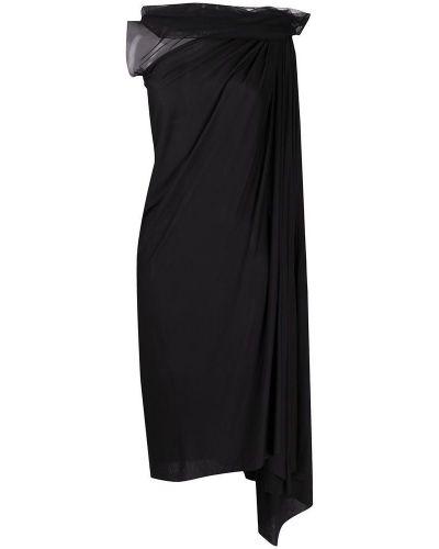 Czarna sukienka midi asymetryczna bez rękawów Rick Owens