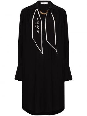 Jedwab czarny sukienka mini z długimi rękawami z kołnierzem Givenchy