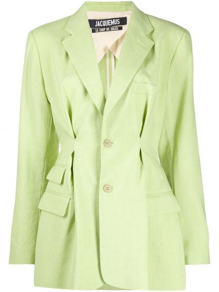 Шерстяной зеленый пиджак на пуговицах Jacquemus