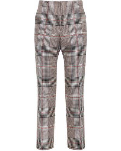 Beżowy prosto wełniany spodnie o prostym kroju na hakach Burberry
