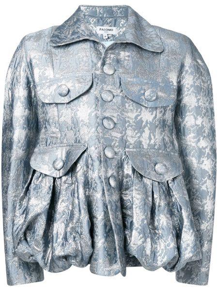 Klasyczna niebieska kurtka z jedwabiu Palomo Spain
