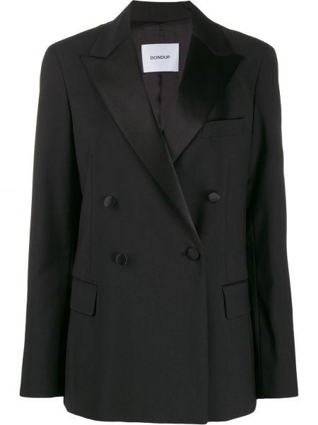 Длинная куртка черная на пуговицах Dondup