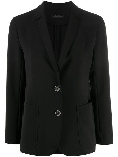 Однобортный черный удлиненный пиджак с накладными карманами Antonelli