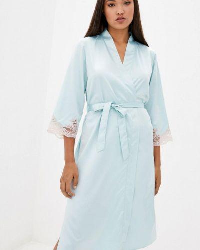 Бирюзовый кружевной домашний халат Komilfo