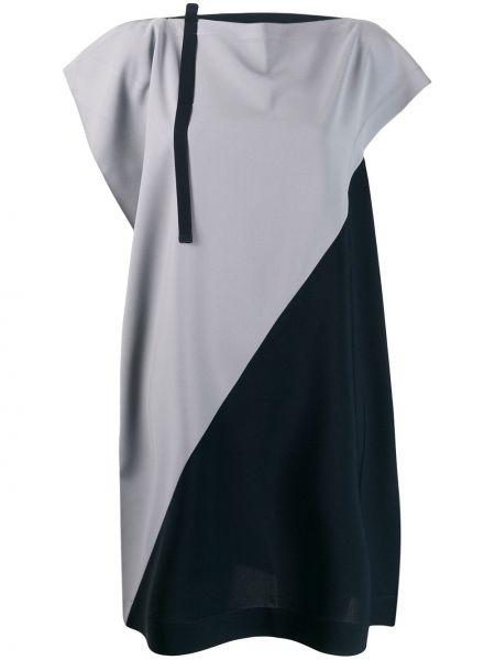 Свободное синее прямое повседневное платье с воротником 132 5. Issey Miyake